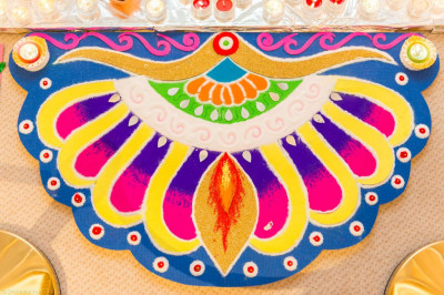 Fantastically intricate and colourful rangoli patterns make up the Diwali decorations
