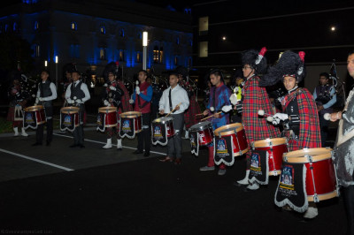 Shree Muktajeevan Swamibapa Pipe Band London perform before the firework display
