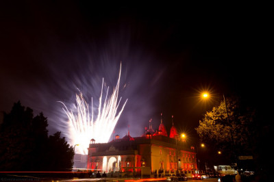 New year fireworks light up the night sky at Shree Swaminarayan Mandir Kingsbury