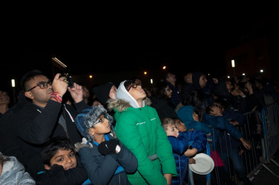 Hundreds gather to watch the fireworks safely