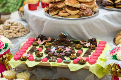 One of the hundreds of dishes of different sweets and savouries offereed to the Lord