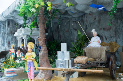 The grand village scene recreated showing divine episodes during the lifetime of Jeevanpran Shree Abj Bapashree