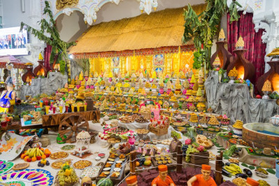 The huge annakut of sweet and savoury items offered to the Lord