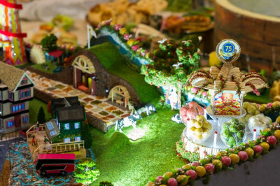 The delightful Lake District scene recreated using food items