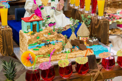 An entire village scene is created as a cake