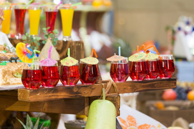 Delicious fruit juices on display