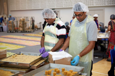 Disciples prepare a huge quantity and variety of sweets and savouries for Diwali and New Year celebrations