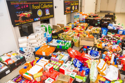 A huge quantity of food has been collected by disciples donated by the generous public
