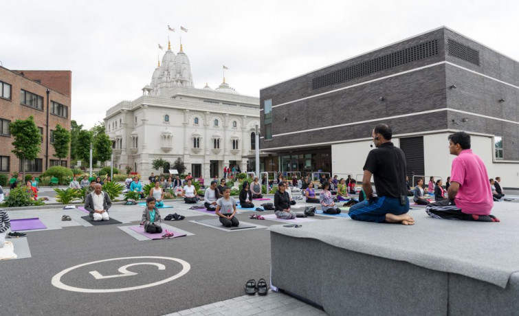 Over 150 'yogis' convened at Shree Swaminarayan Mandir Kingsbury today to celebrate the third annual International Yoga Day