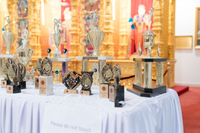 The trophies to be presented to the winners of the tournaments