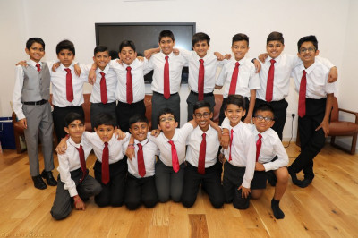 Young disciples who are to perform in the drama and dance during the evening programme
