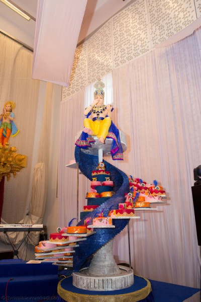 The magnificent platform hosting 75 full size cakes offered to the Lord