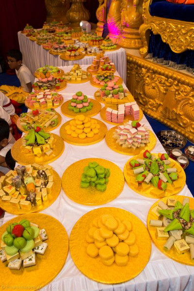 The vast array of different Indian sweets forming the 75 different types of sweets offered to the Lord