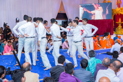 Young disciples perform a devotional dance as part of the drama performance
