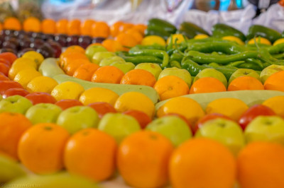 A vast array of different fruits and vegetables offered to the Lord