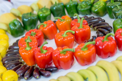 Colourful fresh fruit and vegetables are used to decorate Shree Swaminarayan Mandir Kingsbury