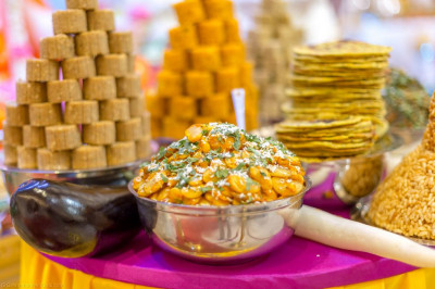A huge variety of sweet and savoury items are freshly prepared and offered to the Lord