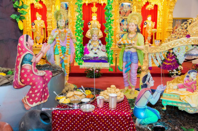 The charming scene of Lord Shree Swaminarayan's arrival on Earth is represented inside the mandir