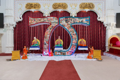 Divine darshan of the magnificent '75' themed hindola portraying various captured moments of His Divine Holiness Acharya Swamishree