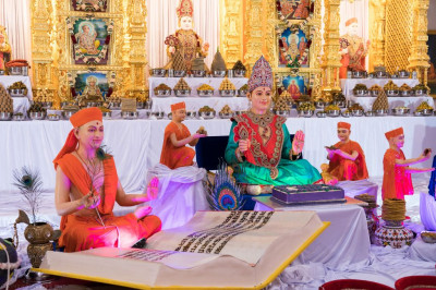 Divine darshan of the Lord dining on shakotsav dishes