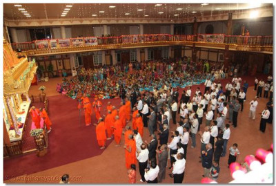 A view of Shree Swaminarayan Temple Nairobi during the evening neeyams after Sandhya aarti