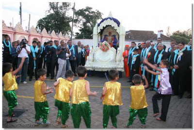 Young disciples perform a traditional dance to a devotional song in the grounds of Shree Swaminarayan Temple Nairobi