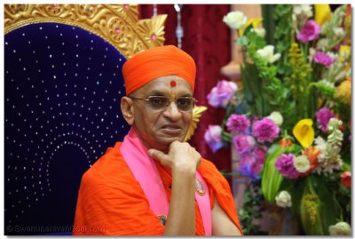 Divine darshan of His Divine Holiness Acharya Swamishree during His divine blessings