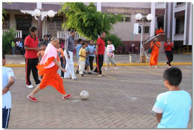 Acharya Swamishree scores a penalty