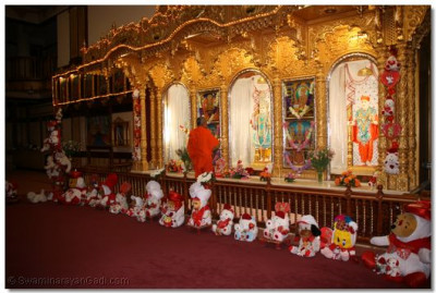 Acharya Swamishree performs darshan to Lord Swaminarayanbapa Swamibapa