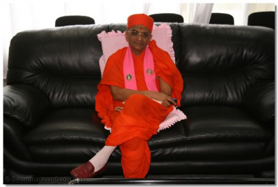 Acharya Swamishree in the VIP lounge at Entebbe Airport