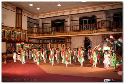 Indian National Flags flutter during the dance