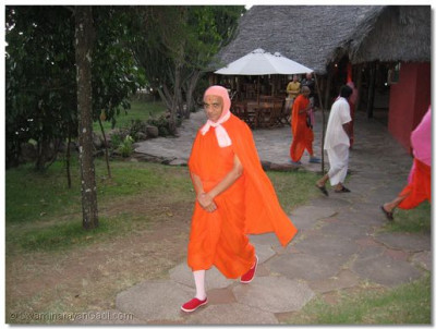 Acharya Swamishree taking a early morning walk at the resort in Masai Mara