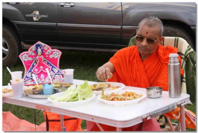Acharya Swamishree enjoys the mahaprasad in the park