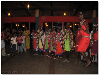 A group of Maasai dancers join in the Bhakti Sangeet Nite