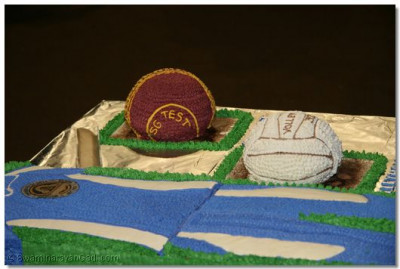 The cake depicting various sports