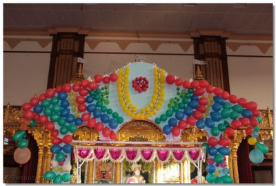 Hindola decorated with multi-coloured balloons