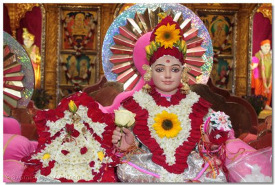 Harikrishna Maharaj adorned with flower chadar