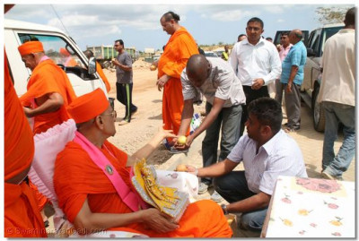 Prasad given to workers at a quarry