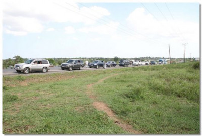 Disciples' vehicles on the main Mombasa Road