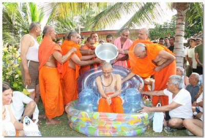 Panchamrut snan ceremony performed with milk