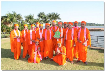 HDH Acharya Swamishree and sant mandal at Speke Resort and Complex Centre, Munyonyo