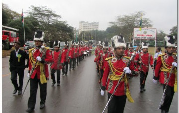 H H Swamibapa Pipe Band performs at Promulgation ceremony of new constitution at Uhuru Park
