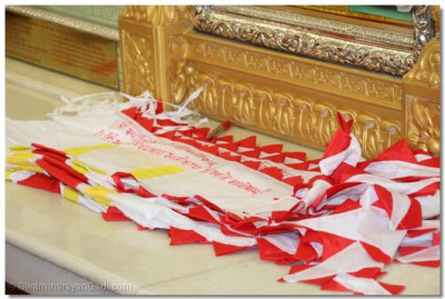 A close up of the new temple flags that will be raised at the conclusion of the 11th Anniversary ceremony