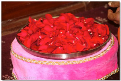 A plate of fresh fragrant red rose petals that will be offered to the divine lotus feet of Lord Shree SwaminarayanBapa Swamibapa