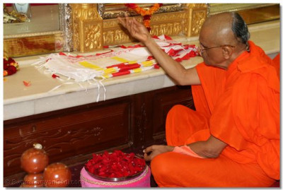 His Divine Holiness Acharya Swamishree offers each of the beautiful fresh rose petals to Lord SwaminarayanBapa Swamibapa as the Lord's 108 names are recited
