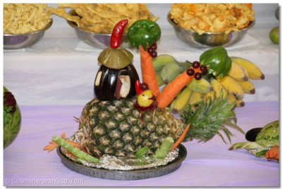 Various different items skillfully crafted using raw fruits and vegetables form part of the ankot