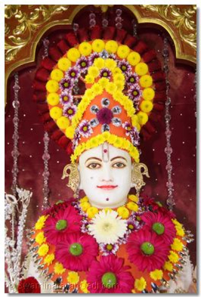 Lord Swaminarayan adorned in flower garments