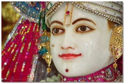 Lord Swaminarayan Bhagwan adorned in White colorful vaghas to bring out the light on a dark night