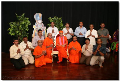 Play directors and stage management team with HDH Acharya Swamishree