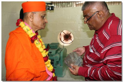 A devotee takes Acharya Swamishree through process of the workflow in the yard